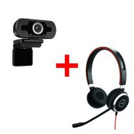 Jabra Evolve 40 MS Duo + Webcam USB HD Desktop