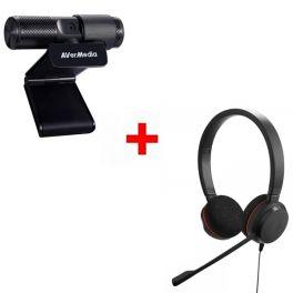 Pack: Avermedia Webcam USB Live Streamer 313 + Jabra Evolve 20 Stereo