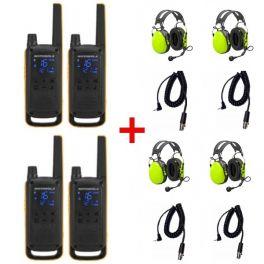 4er Set Motorola T82 Extreme mit Peltor Gehörschutzheadsets + Anschlusskabel