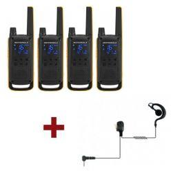 4er Pack Motorola Talkabout T82 Extreme + 4x Ohrhaken Headsets