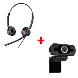 Duo Headset mit USB/Jack Anschluss + Webcam USB HD Desktop