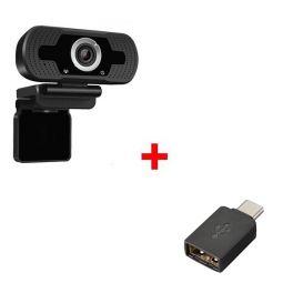Webcam USB HD Desktop + USB-A zu USB-C Adapter