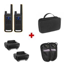 Pack: Motorola Talkabout T82 Extreme + 2 Ladegeräte + Schutzhüllen + Tasche