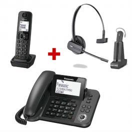 Pack: Drahtloses Headset Panasonic KX-TGF310 + Plantronics C565