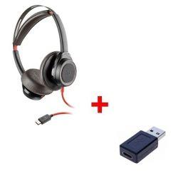 Pack: Plantronics Blackwire 7225 + USB-C zu USB-A Adapter