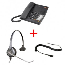 Alcatel Temporis 380 + Headset Supra Plus HW251 Mono + Anschlusskabel