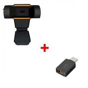 Pack: USB-Webcam für PC + USB-A zu USB-C Adapter