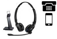 Schnurlose Headsets für Telefon + Smartphones