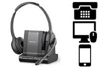 Schnurlose Headsets für Telefon + PC + Smartphones